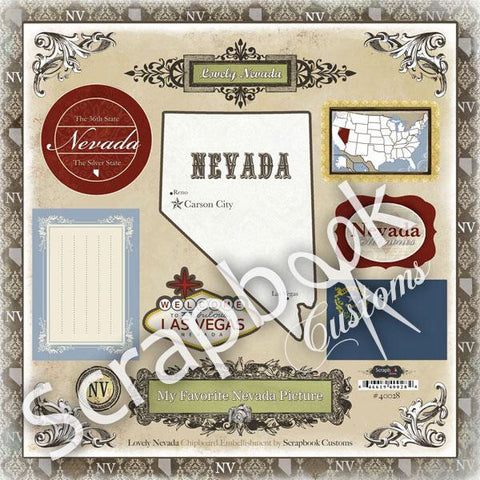 Scrapbook Customs NEVADA LOVELY ChipBoard 14pc LV