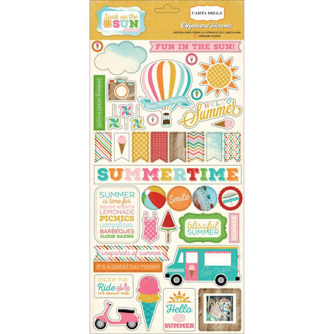 "Echo Park SOAK UP THE SUN Chipboard Accents 6""X13 41pc - Scrapbook Kyandyland"