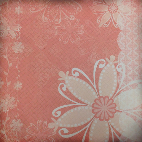 Kyandyland REDDISH PINK DAMASK 12x12 Scrapbook Papers 2pc - Scrapbook Kyandyland