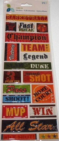 Basketball Momenta GAME ON Puffy Word Stickers 19pc - Scrapbook Kyandyland