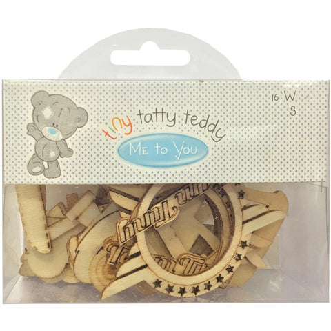 Tiny Tatty Teddy BOY Wooden Shapes 16pc - Scrapbook Kyandyland