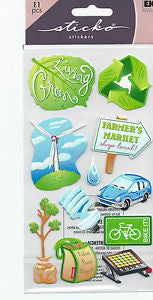 Ek Success Sticko BEING GREEN Stickers 11pc - Scrapbook Kyandyland