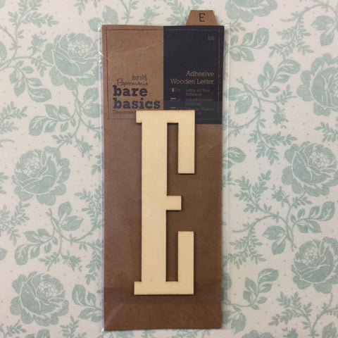 Papermania Bare Basics Wooden Adhesive LETTER E Wood