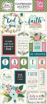 "Echo Park 6""x12"" HAVE FAITH Chipboard  Phrases 22pc Scrapbooksrus"