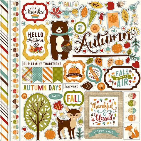 "Echo Park Fall Is In The Air ELEMENT STICKERS 12""X12"" Sheet Scrapbooksrus"
