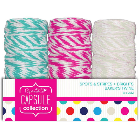 Docrafts Papermania SPOTS & STRIPES BRIGHTS Bakers Twine 3pc - Scrapbook Kyandyland
