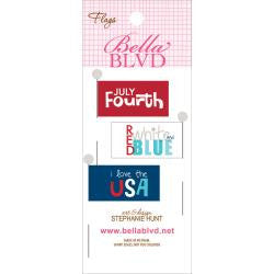 "Bella Blvd ALL AMERICAN WORDS Flags 2""X5"" 3pc - Scrapbook Kyandyland"