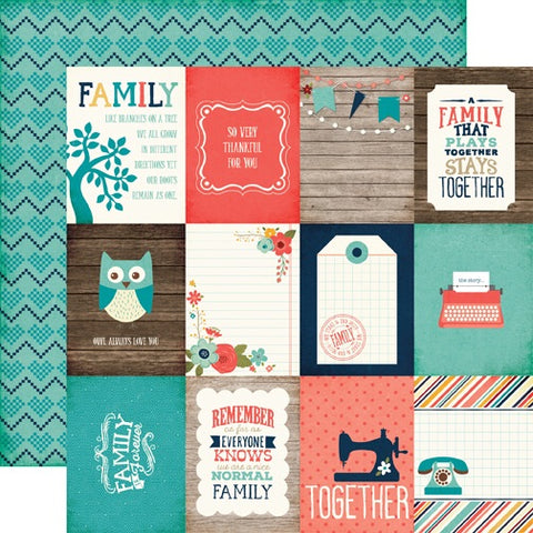 "Echo Park The Story Of Our Family 3x4 JOURNALING CARDS 12""x12"" Paper Scrapbooksrus"