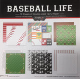 "BASEBALL LIFE KIT 12""X12"" Scrapbook Paper 12 Sheets"