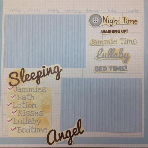 "Premade Scrapbook Page (1) 12""x12"" SLEEPING ANGEL - Scrapbook Kyandyland"