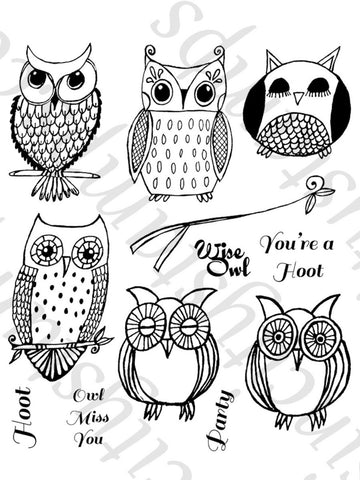 SinCity Stamps HOOT OWL Cling Rubber 12pc Stamps - Scrapbook Kyandyland