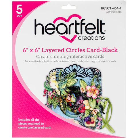 Heartfelt LAYERED CIRCLE CARD Black Scrapbooksrus