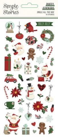 Simple Stories Jingle All The Way PUFFY STICKERS 44pc