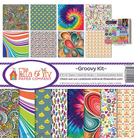 "Ella & Viv GROOVY KIT 12""X12"" Scrapbook Kit 9pc Scrapbooksrus"