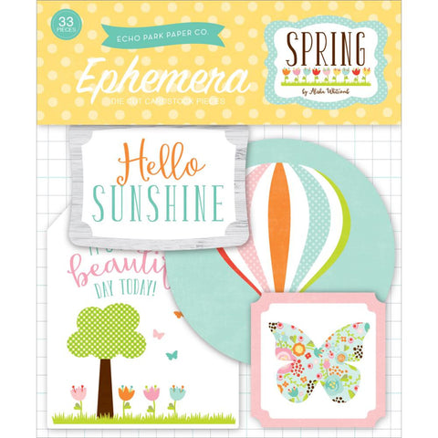 Echo Park SPRING EPHEMERA Die Cuts 33pc - Scrapbook Kyandyland
