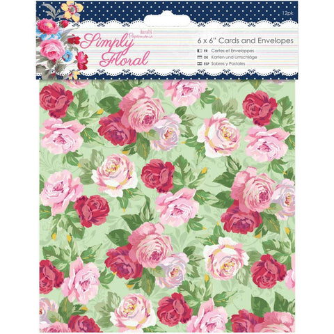 "Docrafts Papermania SIMPLY FLORAL Cards & Envelopes 6""X6"" - Scrapbook Kyandyland"