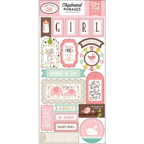 "Echo Park 6""x12"" SWEET BABY GIRL 2 Chipboard  Phrases 19 pc Scrapbooksrus"