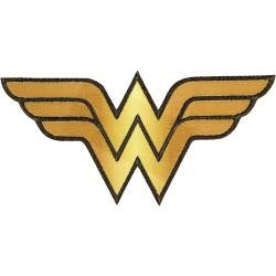 DC Comics WONDER WOMAN Iron On Embroidery Patch Appliqué- Gold Scrapbookrus