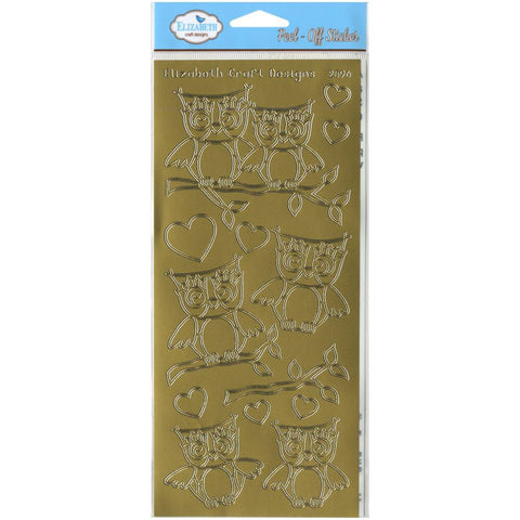 Elizabeth Craft LOTS OF OWLS Gold Peel Off Stickers 2596 - Scrapbook Kyandyland
