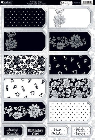 Kanban VINTAGE TAGS Paper Craft Foil DieCut Card Topper 14pc - Scrapbook Kyandyland