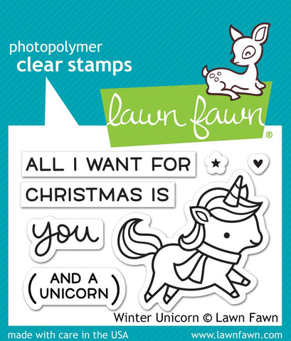 Lawn Fawn WINTER UNICORN Clear Stamps 7 pc