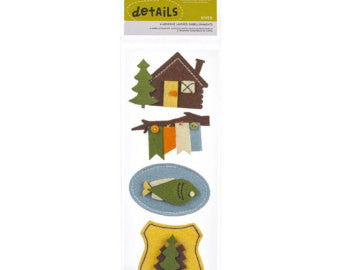 Camp American Crafts RIVER Layered 3D Stickers 4pc - Scrapbook Kyandyland