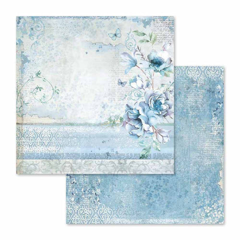 "Stamperia Blue Land FLOWER SBB563 12""X12"" Scrapbook Paper Scrapbooksrus"