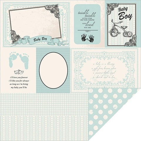"Kaisercraft Pitter Patter LITTLE FEET Scrapbook Baby Paper 12""x12"""