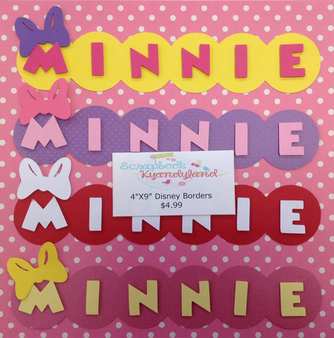Disney MINNIE BORDERS Scrapbook Title Scrapbooksrus Custom