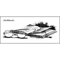 "LaBlanche BOOK & GLASSES 1.5""X3.5"" Mounted Stamp"