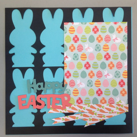 Premade Happy Easter 12x12 Scrapbook Page Blue