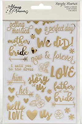 Simple Stories ALWAYS & FOREVER Clear Stickers  @scrapbooksrus