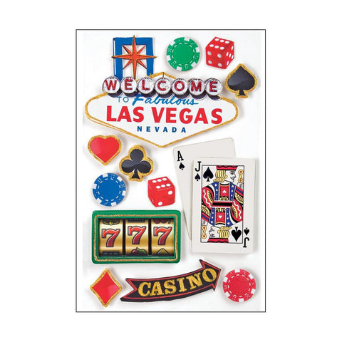 Paper House LAS VEGAS 3D Stickers 12pc - Scrapbook Kyandyland
