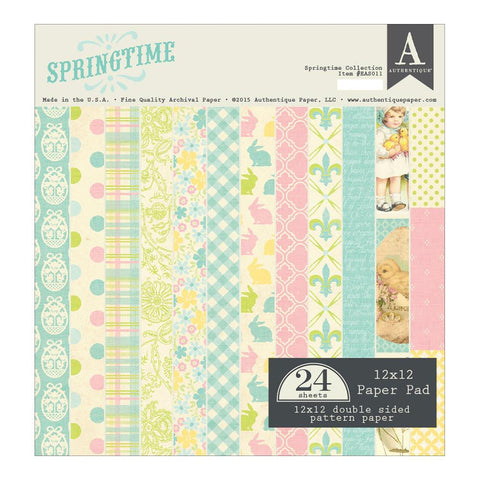 Authentique SPRINGTIME Collection 12X12 Paper Pad 24pc - Scrapbook Kyandyland
