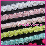 Fabric Ribbon Roses with Pearls @Scrapbooksrus Las Vegas