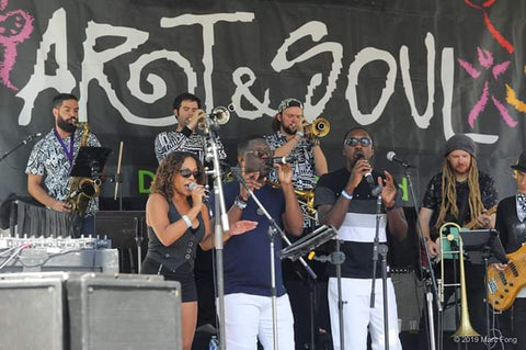 Jazz Mafia at Oaklands Art &Soul Festival wearing Peace Fits