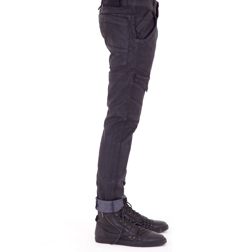 3SMOOVE Waxed Denim Pants (side view) PEACEfits