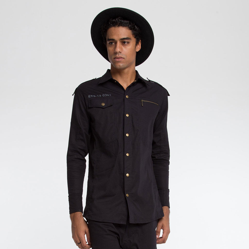 Men's Tops - BOOTCAMP SNAP DOWN SHIRT - Solid Black - PEACEfits