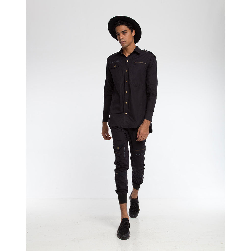 Men's Tops - BOOTCAMP SNAP DOWN SHIRT & CARGO PANT - Solid Black - PEACEfits