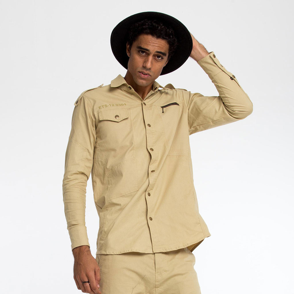 Men's Tops - BOOTCAMP SNAP DOWN SHIRT - Khaki - PEACEfits