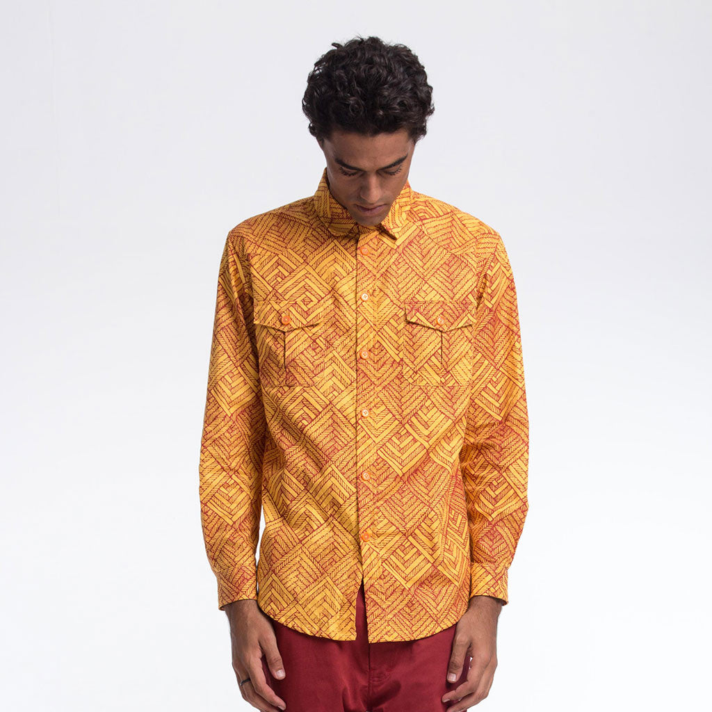 Men's Tops - BROOKLYN BUTTON DOWN SHIRT - Big Herring - Turmeric/Maroon - PEACEfits