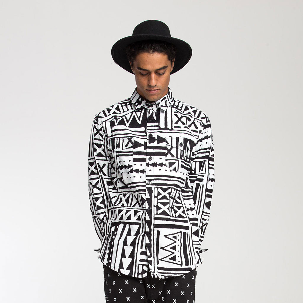Men's Tops - BROOKLYN BUTTON DOWN SHIRT - X-TRiBE - White/Black - PEACEfits