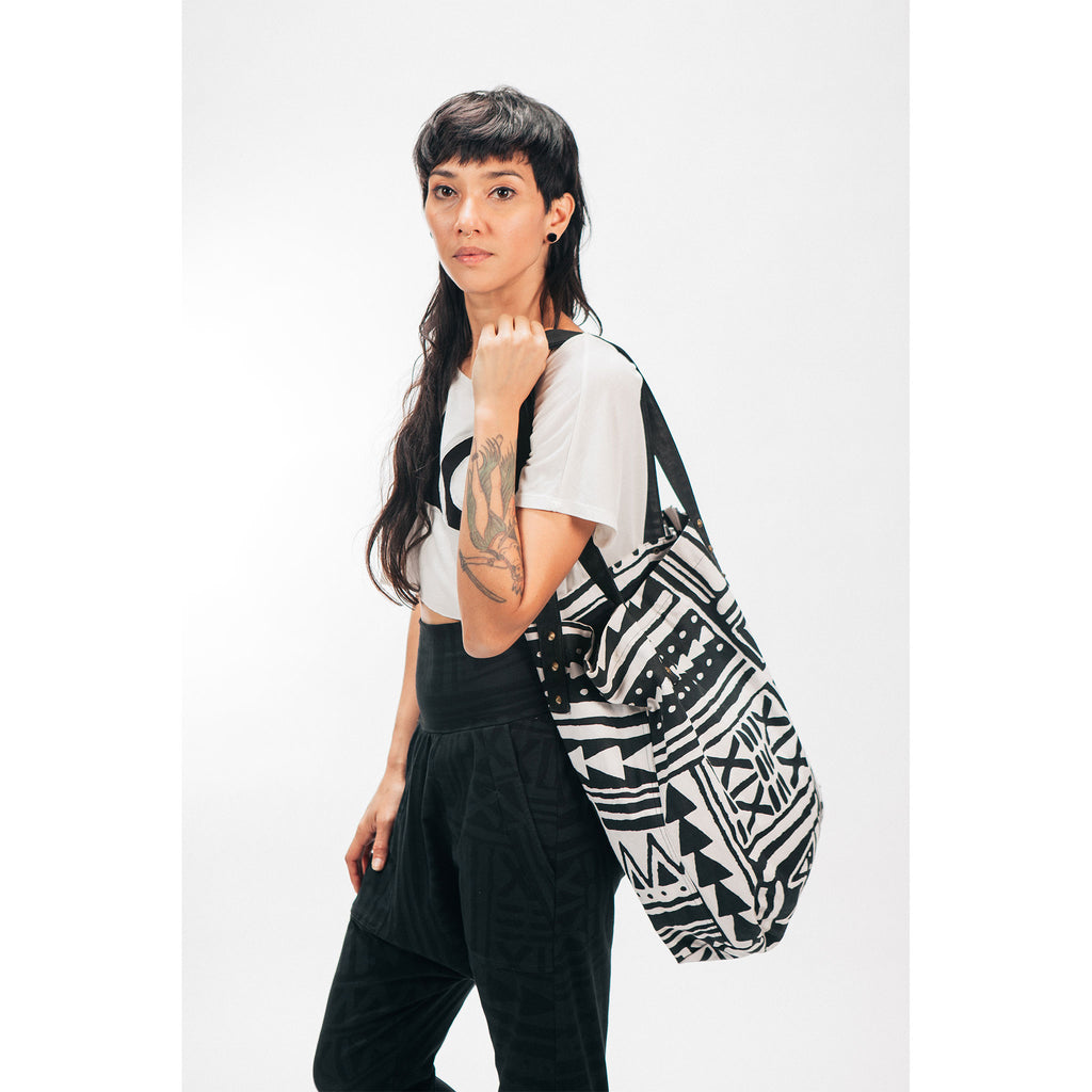 Large Canvas Tote Bag X-TRiBE White & Black Outernational PEACE FITS