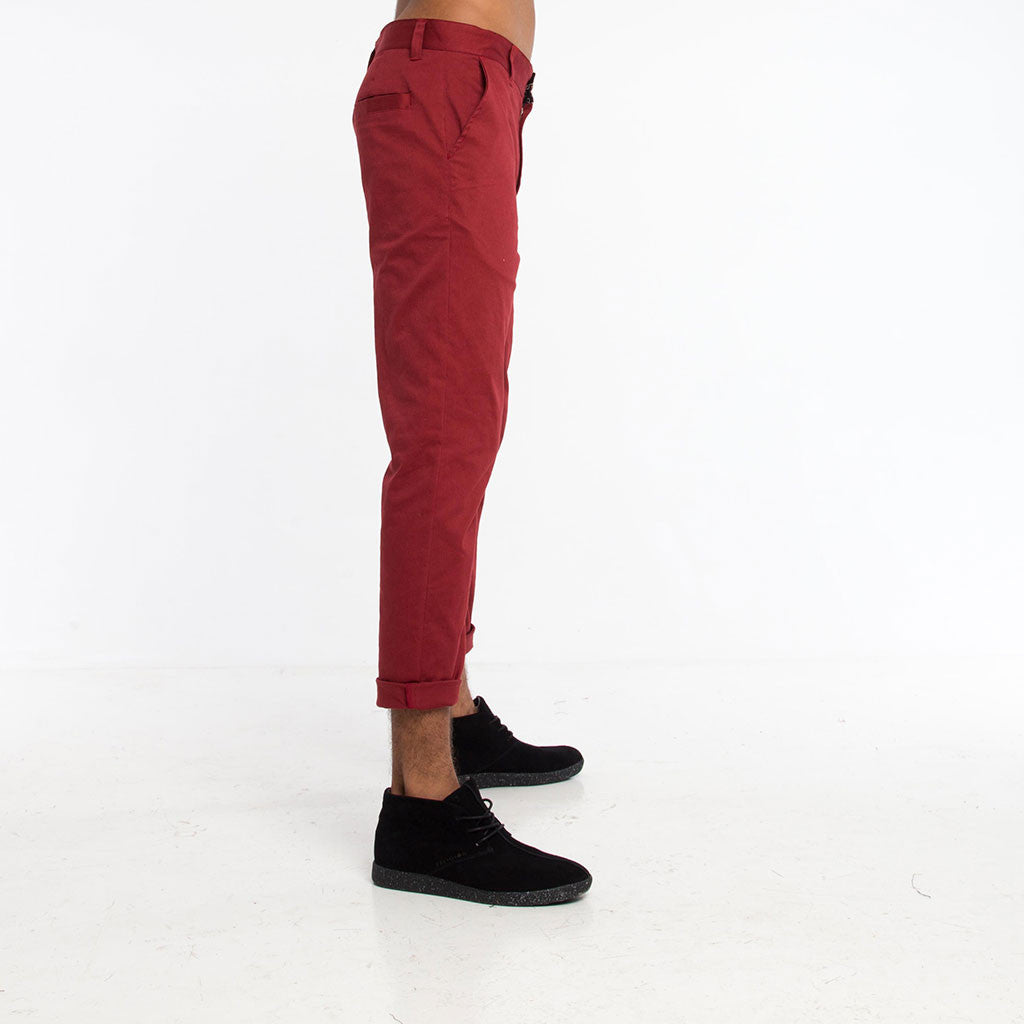 Men's Bottoms - CHINO PANT - Solid Maroon - PEACEfits