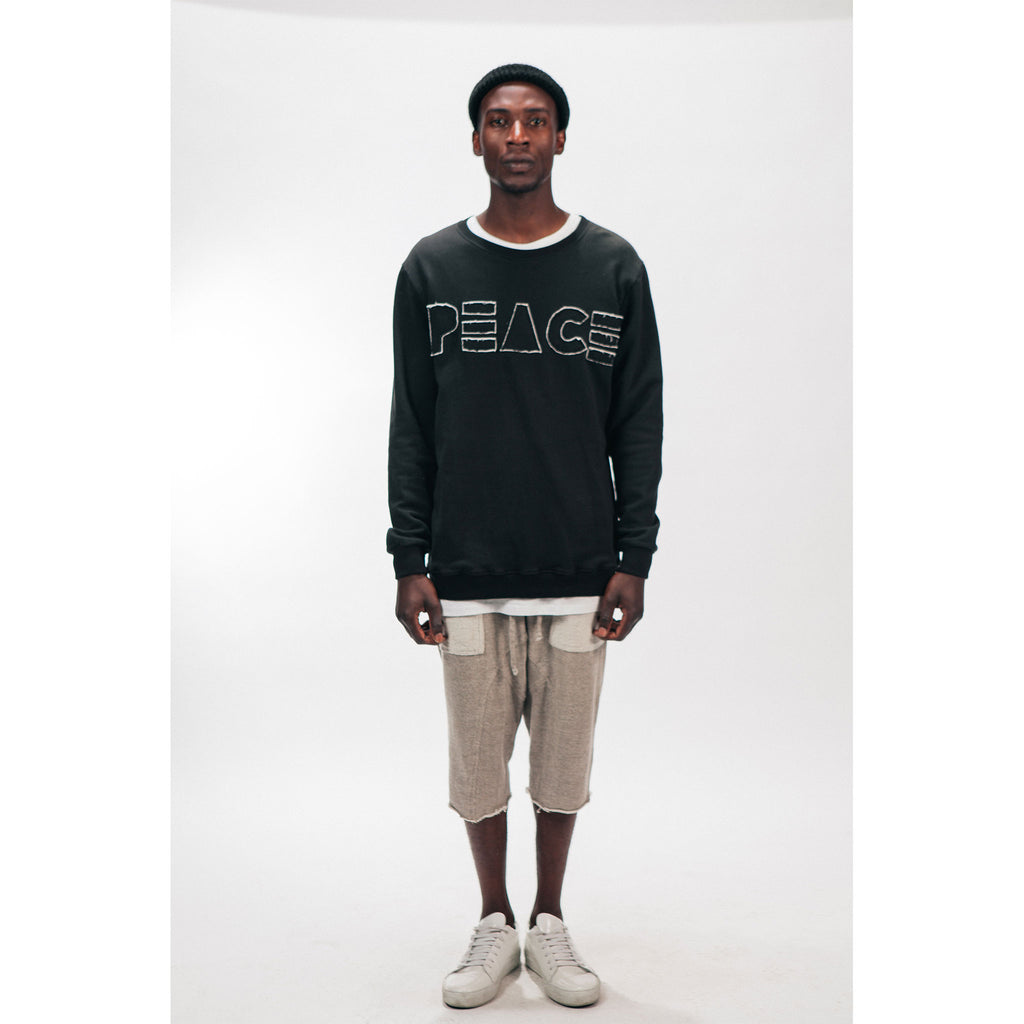 Men's Crew Neck Sweatshirt PEACE Cutout Logo Black Outernational PEACE FITS