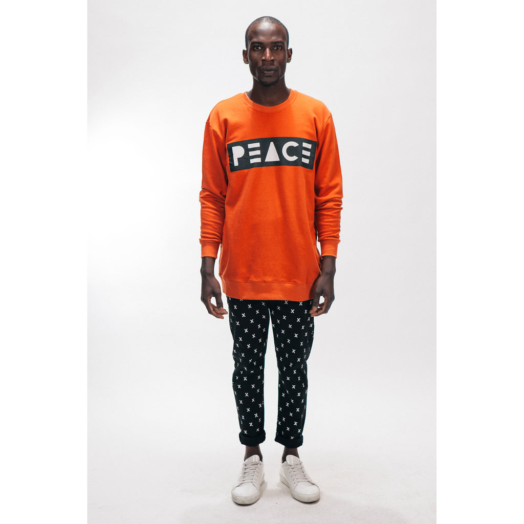 Men's Crew Neck Sweatshirt PEACE Logo Burnt Orange Outernational PEACE FITS