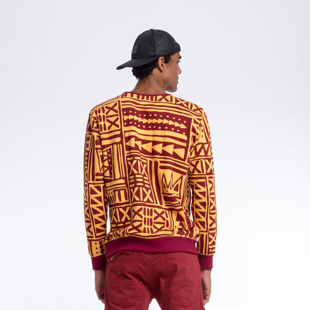 Men's Tops - CREW NECK SWEATSHIRT - X-TRiBE - Turmeric/Maroon - PEACEfits