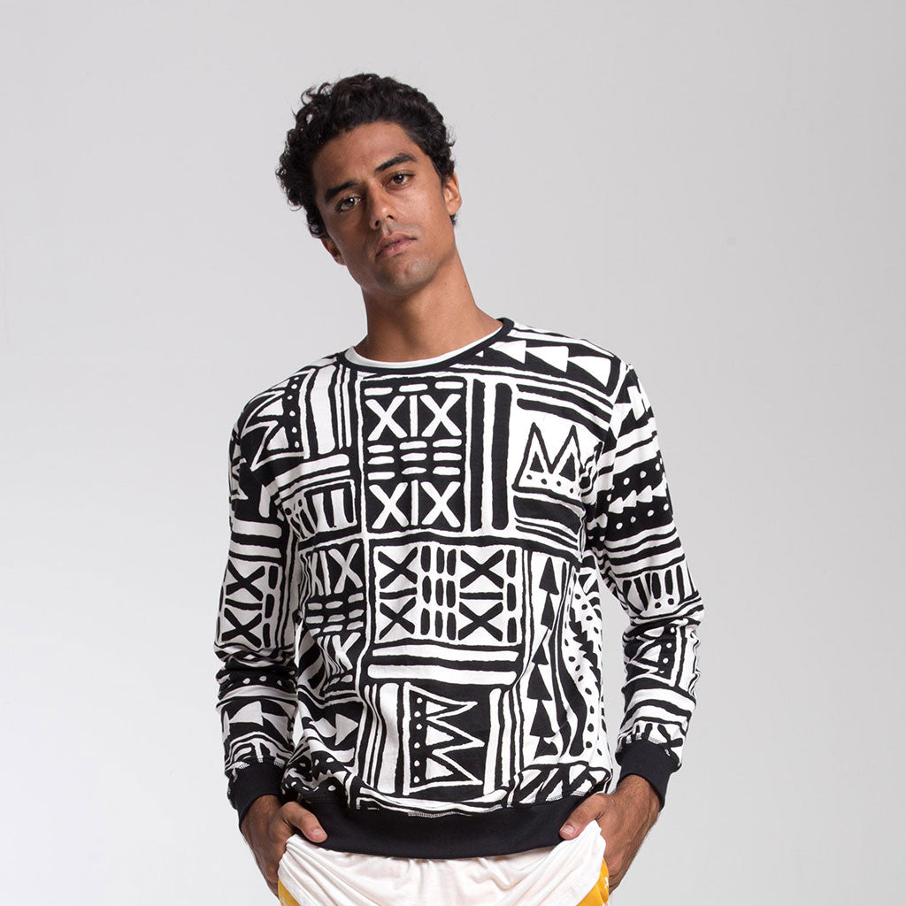 Men's Tops - CREW NECK SWEATSHIRT - X-TRiBE - White/Black - PEACEfits