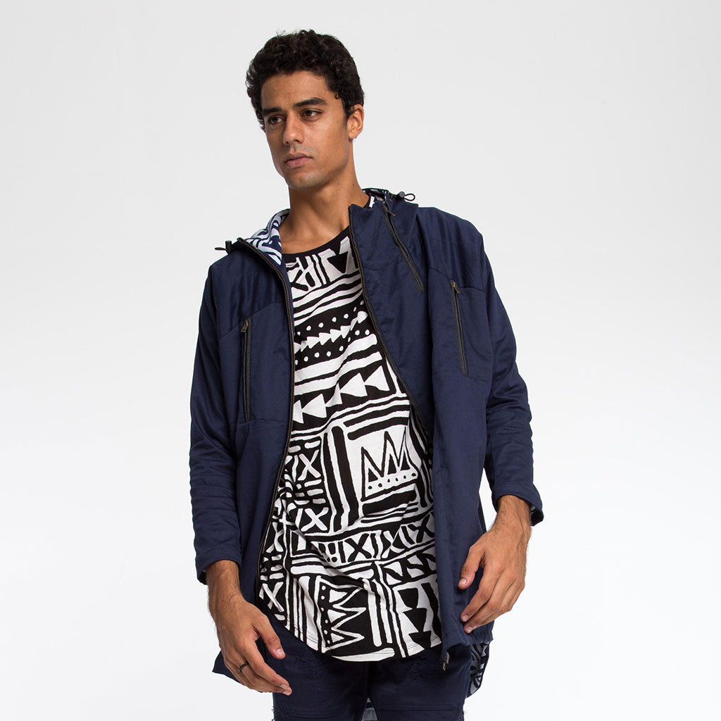 Men's Outerwear - DOIN' IT IN THE PARKA - Indigo - X-TRiBE White/Indigo Lining - PEACEfits