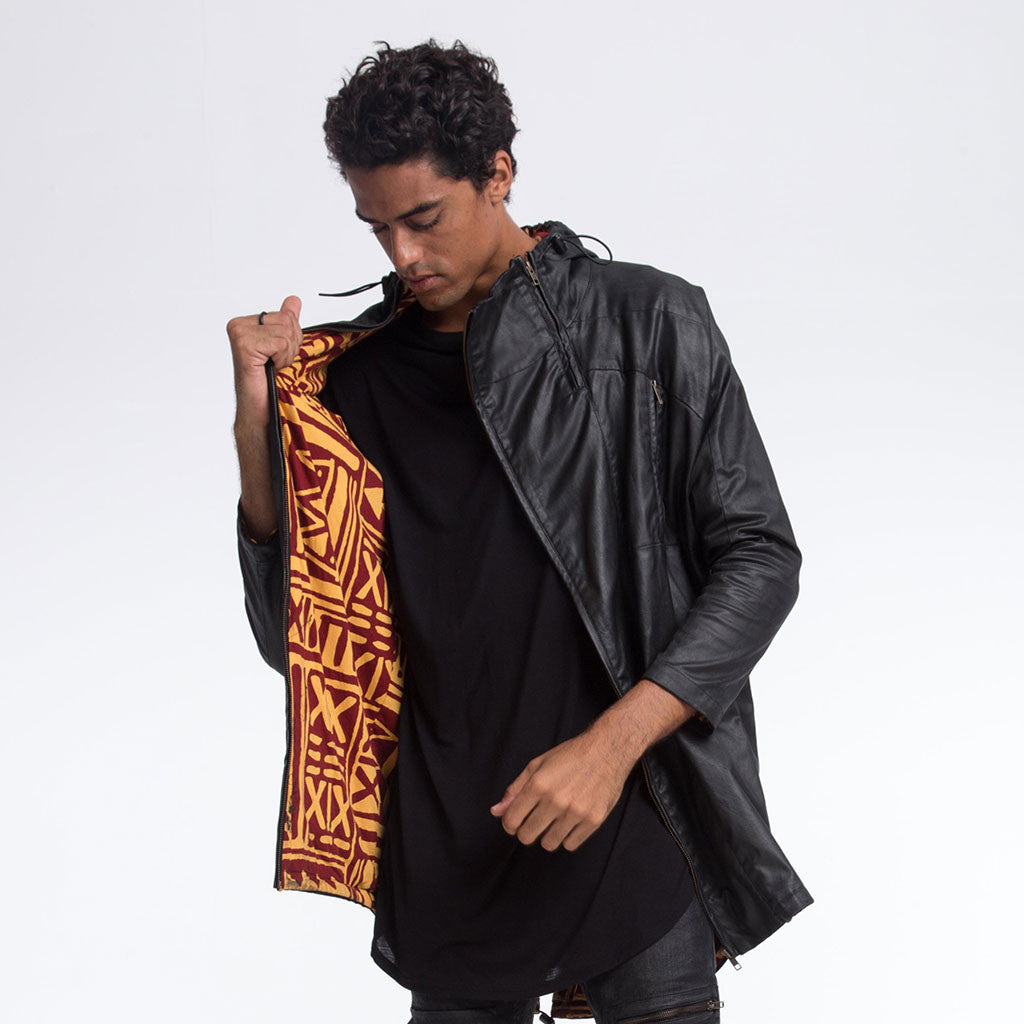 Men's Outerwear - DOIN' IT IN THE PARKA - Waxed Black - X-TRiBE Turmeric/Maroon Lining - PEACEfits